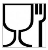 bicchiere e forchetta simbolo etichette alimenti